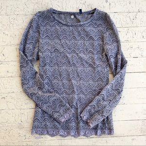 BKE boutique grey lace long sleeve top medium